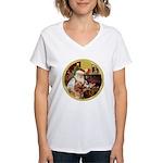 Santa at home with Syenna Women's V-Neck T-Shirt