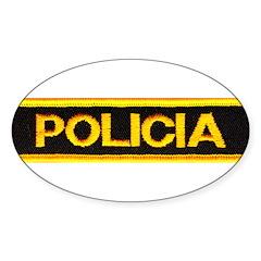 Policia Oval Sticker (10 pk)