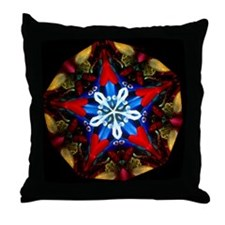 Patriotic Snowflake Kaleidoscope Throw Pillow