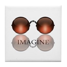 Imagine Rose Colored Glasses Tile Coaster