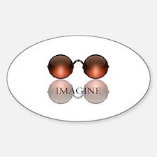 Imagine Rose Colored Glasses Oval Sticker (10 pk)