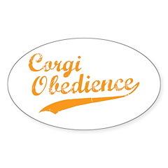 Corgi Obedience Oval Sticker (50 pk)