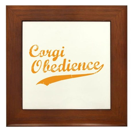 Corgi Obedience Framed Tile
