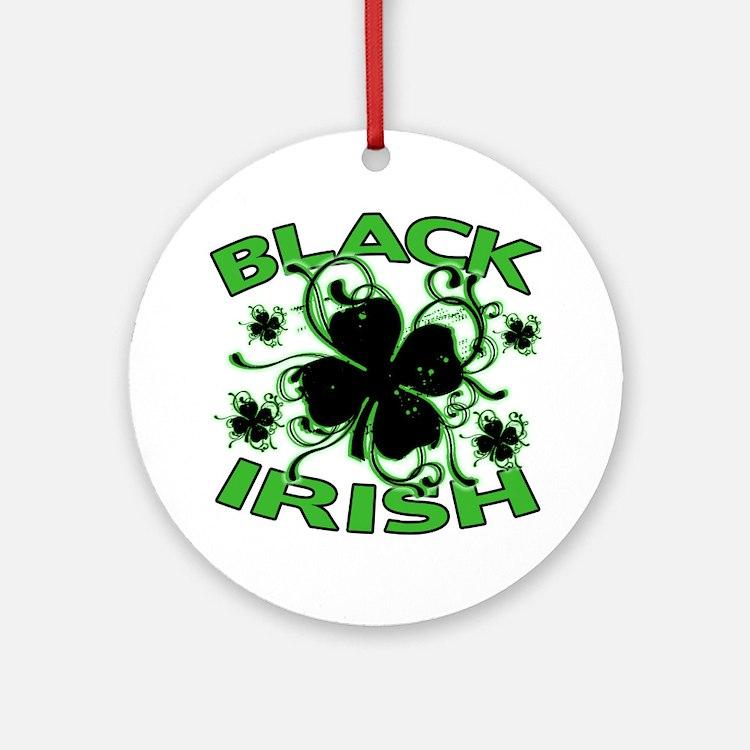 Black Shamrocks Black Irish Ornament (Round)