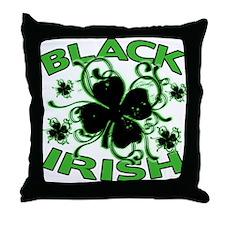 Black Shamrocks Black Irish Throw Pillow