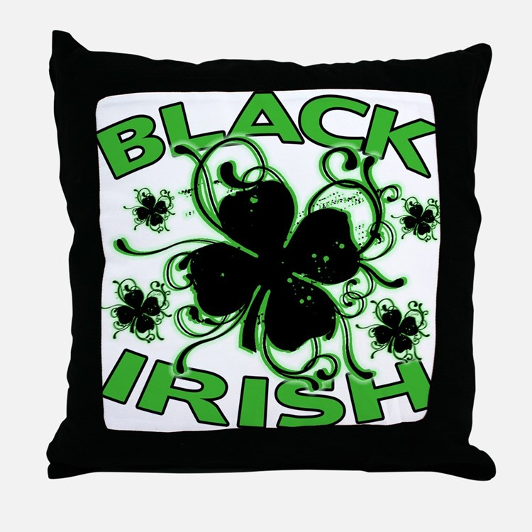 Black Shamrocks Black Irish Throw Pillow