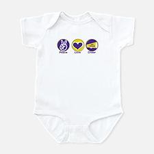 Peace Love Cheer PurYel Infant Bodysuit