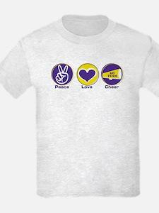 Peace Love Cheer PurYel T-Shirt