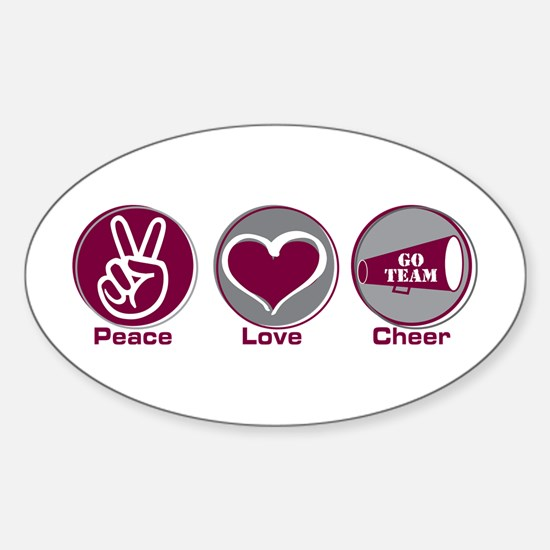 Peace Love Cheer margr Sticker (Oval)