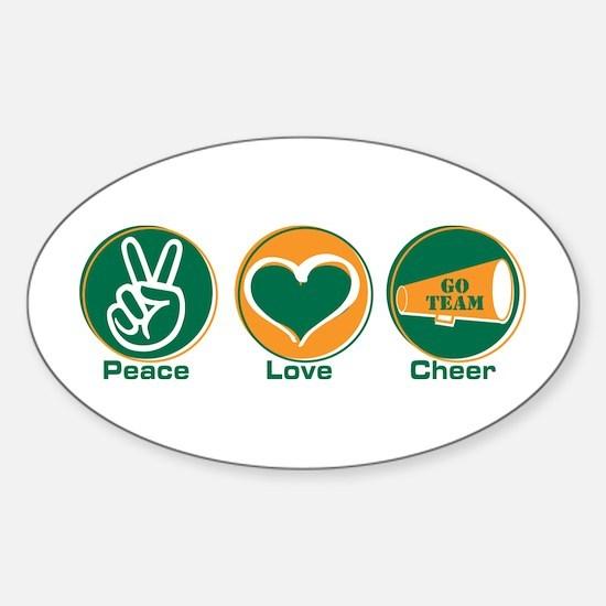 Peace Love Cheer GrOr Sticker (Oval)