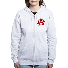 Anarchy Symbol Red Zip Hoodie