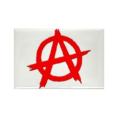 Anarchy Symbol Red Rectangle Magnet