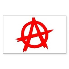 Anarchy Symbol Red Rectangle Decal