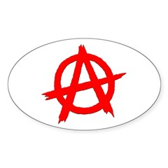 Anarchy Symbol Red Oval Sticker (10 pk)
