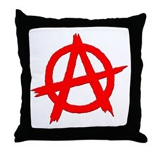 Anarchy Symbol Red Throw Pillow