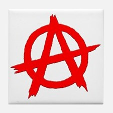 Anarchy Symbol Red Tile Coaster