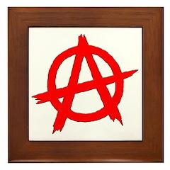 Anarchy Symbol Red Framed Tile