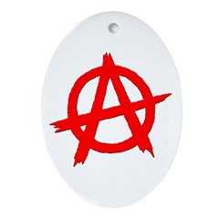 Anarchy Symbol Red Oval Ornament
