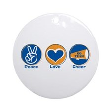 Peace Love Cheer BlOr Ornament (Round)