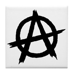 Anarchy Symbol BW Tile Coaster