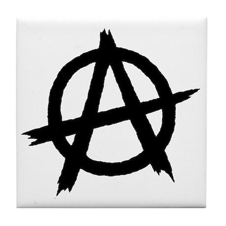 Anarchy Symbol BW Tile Coaster