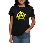 Anarchy Symbol Yellow Women's Dark T-Shirt