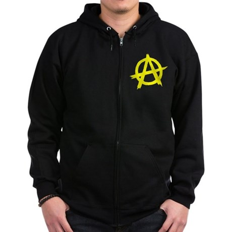 Anarchy Symbol Yellow Zip Hoodie (dark)