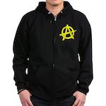Anarchy Symbol Yellow Zip Hoodie (dark)