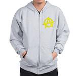 Anarchy Symbol Yellow Zip Hoodie