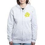Anarchy Symbol Yellow Women's Zip Hoodie