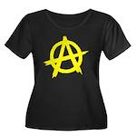 Anarchy Symbol Yellow Women's Plus Size Scoop Neck