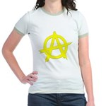 Anarchy Symbol Yellow Jr. Ringer T-Shirt
