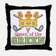 Queen of the Green Womens Golf Throw Pillow