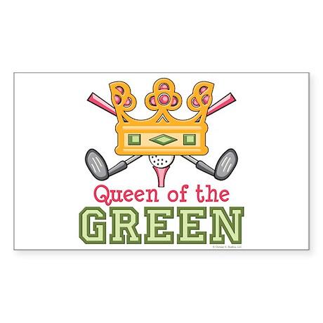 Queen of the Green Golf Rectangle Sticker