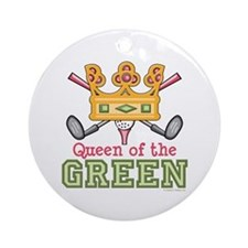Queen of the Green Womens Golf Ornament (Round)