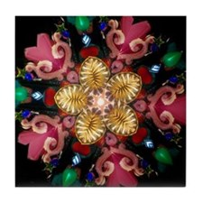 Gold and Pink Kaleidoscope Flower Tile Coaster