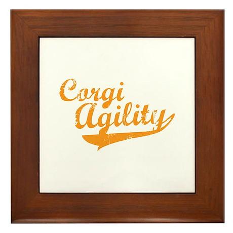 Corgi Agility Framed Tile