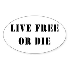 Live Free or Die Oval Sticker (10 pk)