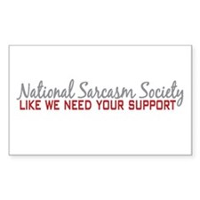 National Sarcasm Society Rectangle Decal