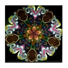 Gold Flower Kaleidoscope Tile Coaster