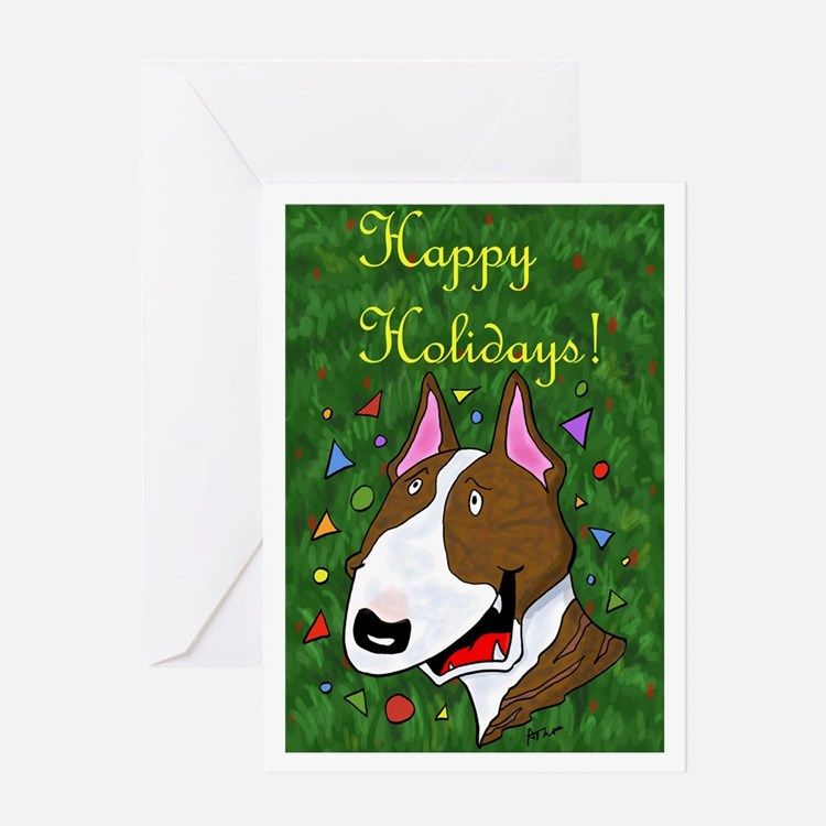 Brindle Bull Terrier Christmas Greeting Cards 20