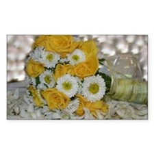 Yellow Roses Bridal Bouquet Rectangle Decal