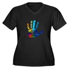 Massage Hand Women's Plus Size V-Neck Dark T-Shirt