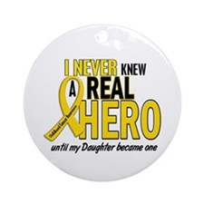 Never Knew A Hero 2 GOLD (Daughter) Ornament (Roun