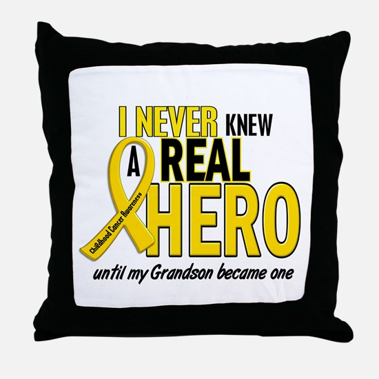 Never Knew A Hero 2 GOLD (Grandson) Throw Pillow