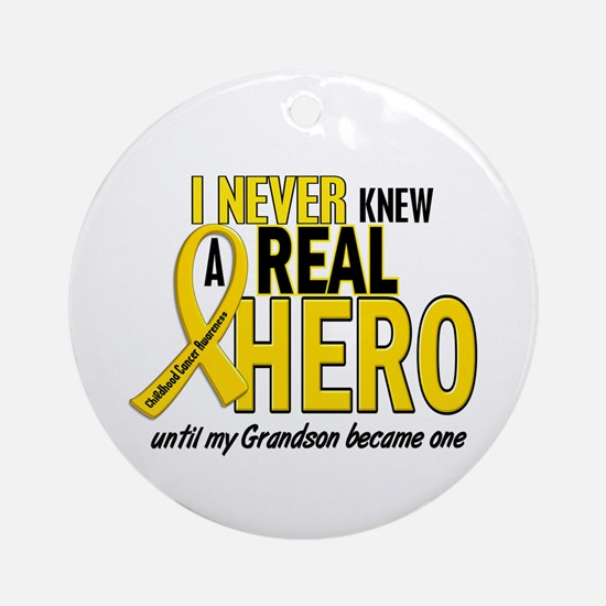 Never Knew A Hero 2 GOLD (Grandson) Ornament (Roun