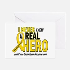 Never Knew A Hero 2 GOLD (Grandson) Greeting Card