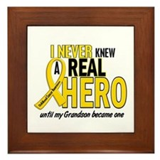 Never Knew A Hero 2 GOLD (Grandson) Framed Tile