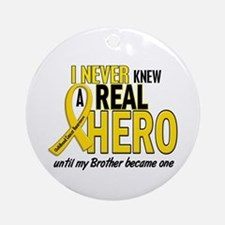 Never Knew A Hero 2 GOLD (Brother) Ornament (Round