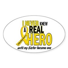 Never Knew A Hero 2 GOLD (Sister) Oval Decal